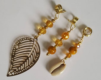 3 Piece Set Loc Jewelry by Razonda Lee Razondalee Hair Accessories Dreadlock Cuffs Beads Charms Dread Beads Gold Yellow Assortment