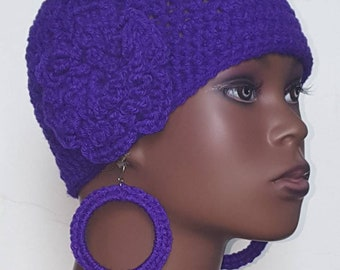 Bright Purple Crochet Skullcap Beanie and  Earrings by Razonda Lee Razondalee