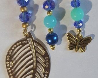 3 Piece Set Loc Jewelry by Razonda Lee Razondalee Hair Accessories Dreadlock Cuffs Beads Charms Dread Beads Blue Aqua  Assortment