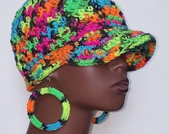 CLEARANCE Neon Crochet Baseball Cap with Earrings by Razonda Lee Razondalee Pink Yellow Orange Green Blue
