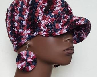 CLEARANCE Crochet Baseball Cap with Earrings by Razonda Lee Razondalee Red Black White Navy