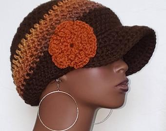 CLEARANCE Brown Crochet Cap Hat with Flower by Razonda Lee Razondalee