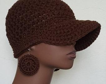 CLEARANCE Brown Crochet Baseball Cap with Earrings by Razonda Lee Razondalee