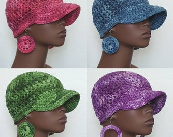 CLEARANCE Crochet Baseball Cap Hat and Earrings by Razonda Lee Razondalee Pink Blue Purple Green