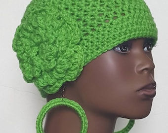 Bright Green Crochet Skullcap Beanie and  Earrings by Razonda Lee Razondalee