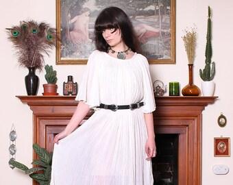 Vintage 70s White Cotton Gauze Angel Sleeve Midi Dress OS