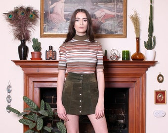 Vintage 70s Moss Green Suede Snap Front Mini Skirt XS