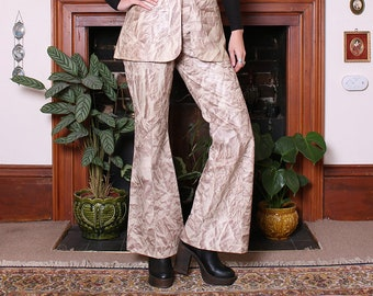 Vintage 70s Tie Dye Leather Vest Flared Trousers Two Piece Set M