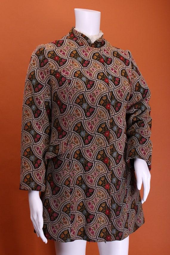 Vintage 60s Tapestry Hippie Mod Nehru Collar Short