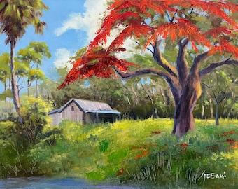 Florida Backcountry with Royal Poinciana Landscape Art Print.