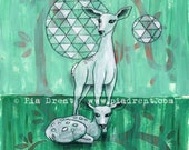 original painting, Doe With Fawn, wall art, geometric, mixed media on paper, green and white, illustration