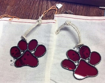 Dog Paws RED Stained Glass  SunCatchers Rescues Police Dogs Animal Shelters