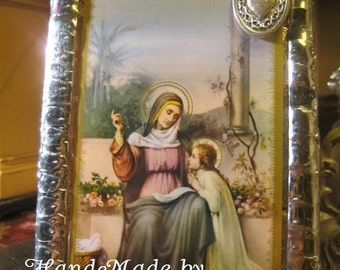 Mother and Grand Mothers Saint Anne Stained Glass Holy Prayer Card Keepsake  with prayer