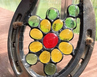 Pretty Yellow Flower Glass SunCatcher for the Barn Farm Stable Horse Lovers Yard Art