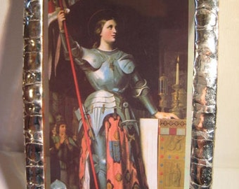 Saint Joan of Arc Stained Glass Holy Card Keepsake