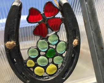 Red Flower Growing in the Ground Stained Glass SunCatcher for the Barn Farm Stable Horse Lovers Yard Art