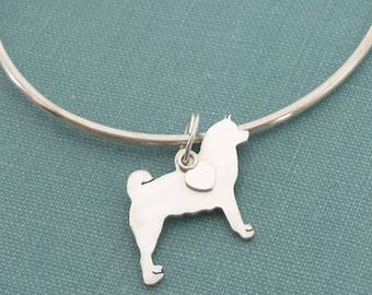 Akita Dog Bangle Bracelet, Sterling Silver Personalize Pendant, Breed Silhouette Charm, Rescue Shelter, Memory Gift