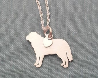 Saint Bernard Dog Necklace, Sterling Silver Personalize Pendant, Breed Silhouette Frenchie Charm Rescue Shelter, Mothers Day Gift