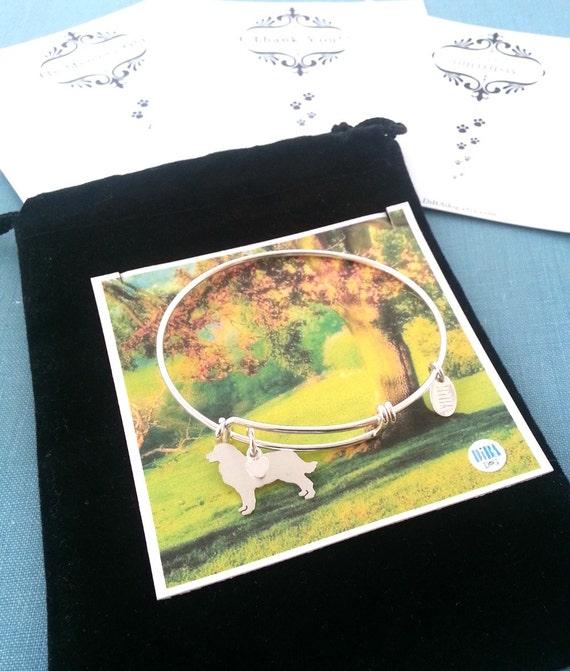 .925 Sterling Silver Bernese Mountain Dog charm Adjustable Bangle Bracelet Pet Memorial Monogram Jewelry