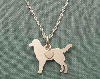 Flat Coated Retriever Dog Necklace, Sterling Silver Personalize Pendant, Breed Silhouette Charm Rescue Shelter