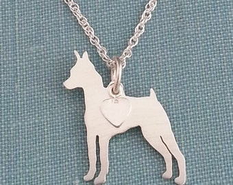 Miniature Pinscher Dog Necklace, Sterling Silver Personalize Pendant, Min Pin Breed Silhouette Charm Rescue Shelter, Gift