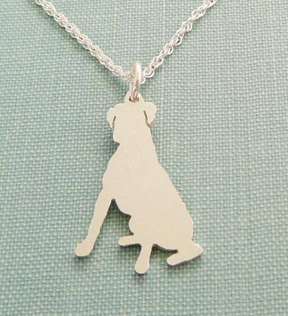 Boxer Hund Halskette, sitzen Sterling Silber Anhänger zu personalisieren, Silhouette Charme zu züchten, Resue Shelter, Mütter Tag Geschenk