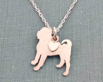 Chinese Shar-Pei Necklace, Sterling Silver Personalize Pendant, Breed Silhouette Charm Rescue Shelter, Mothers Day Gift