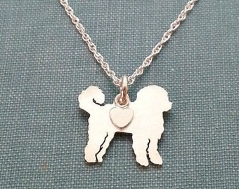 Labradoodle Dog Necklace, Sterling Silver Personalize Pendant, Breed Silhouette Charm Rescue Shelter, Memory Gift
