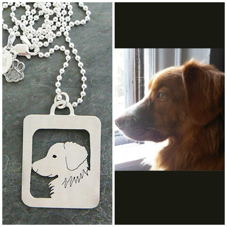 Head Shot Dog Custom personalized Dog Art Pet Portrait Pendant Necklace Open Back