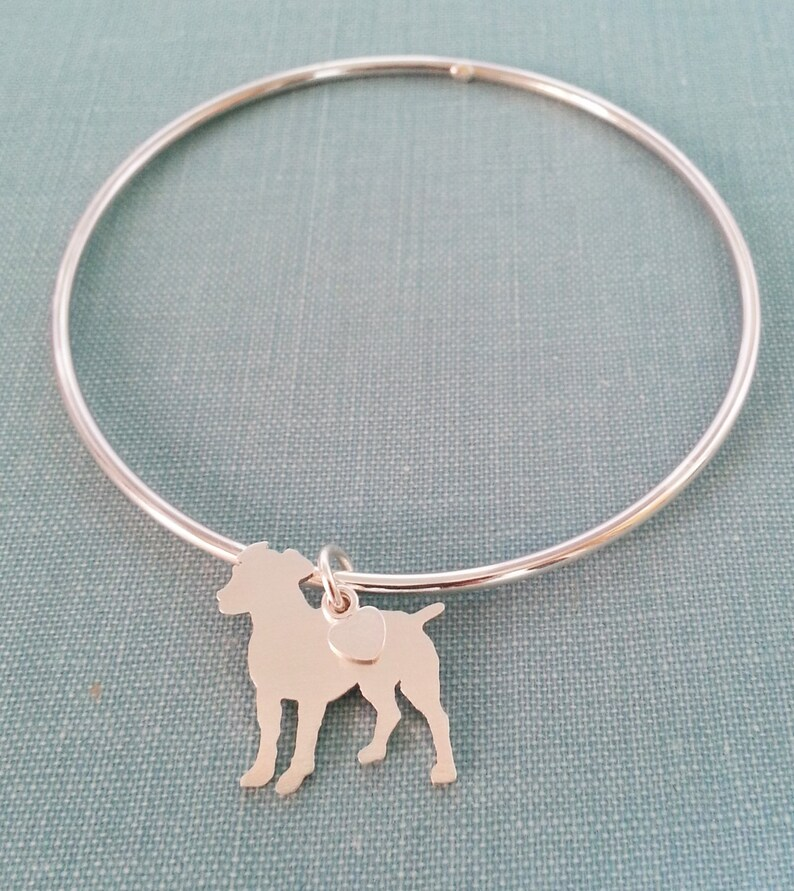 Mothers Day Gift Boxer Dog Chain Bracelet Sterling Silver Personalize Pendant Rescue Shelter Breed Silhouette Charm
