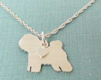 Bichon Frise Dog Necklace, Sterling Silver Personalize Pendant, Breed Silhouette Charm Rescue Shelter, Mothers Day Gift
