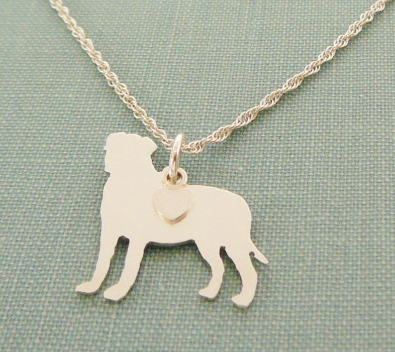 Bullmastiff Dog Necklace Sterling Silver Personalize Pendant image 0