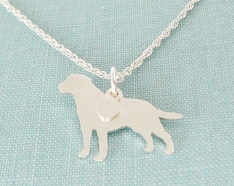 Labrador Retriever Dog Necklace, Sterling Silver Personalize Pendant, Breed Silhouette Charm Rescue Shelter, Mothers Day Gift