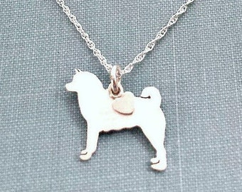 Akita Dog Necklace, Sterling Silver Personalize Pendant, Breed Silhouette Charm Rescue Shelter, Memorial Gift