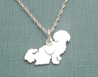 Shih Tzu Dog Necklace, Shih-Tzu Sterling Silver Personalize Pendant, Breed Silhouette Charm Rescue Shelter