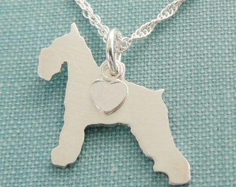 Schnauzer Dog Necklace, Sterling Silver Personalize Pendant, Breed Silhouette Charm Rescue Shelter, Mothers Day Gift