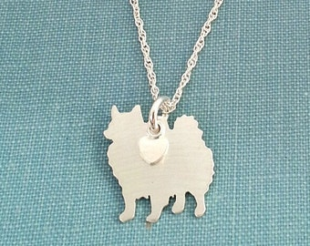 American Eskimo Dog Necklace, Sterling Silver Personalize Pendant, Breed Silhouette Charm Rescue Shelter, Dog Lover Gift