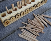 Spindle box, Montessori math, Educational wooden toy,