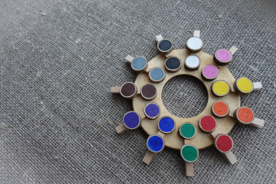 Wooden Color Wheel Color Matching Game Montessori Preschool Etsy