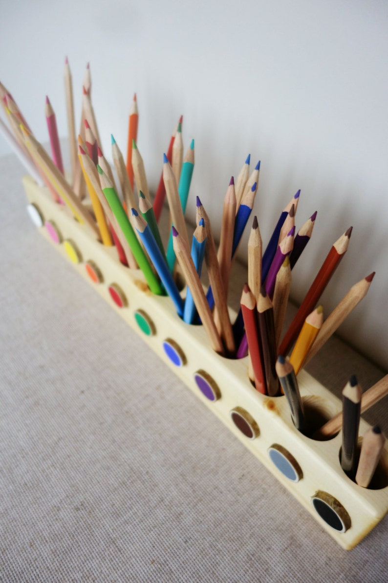 Montessori wood pencil holder crayon holder color sorting image 0
