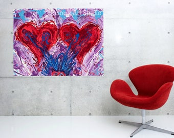 Valentine, Hearts, Two Hearts, Valentine art, Wedding art, Wedding gift, Love, Johno Prascak, Johnos Art Studio