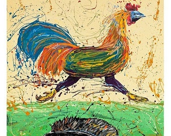 Fish art, Abstract art, Modern wall art, Running Rooster on Water with Bluegill, by Johno Prascak, Pittsburgh art