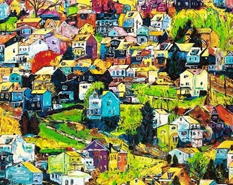 House on a Hill, Homes, Neighborhood Houses wall art,  Corporate wall art, Johno Prascak, Johnos Art Studio