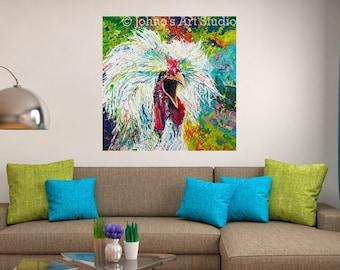 Chicken art, Rooster wall art, Farm art, funky wall art, farm animal art, metal prints, Johno Prascak, Johnos Art Studio
