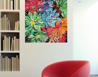 Modern floral art, Flower wall art, Floral art, Daisies wall art, Garden art, Pittsburgh artist, by Johno Prascak, Johnos Art Studio