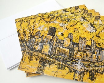 Pittsburgh Skyline note cards, Pittsburgh Skyline, Greeting Cards by artist Johno Prascak, Johnos Art Studio