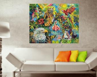 Aviary art, Bird art, Owl art, National Aviary, Colorful bird art, Johno Prascak, Johnos Art Studio