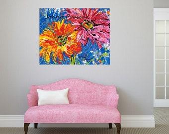 Flower wall art, Floral art, Daisies wall art, Garden art, Pittsburgh artist, by Johno Prascak, Johnos Art Studio