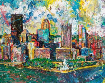 Pittsburgh Skyline, Pittsburgh art, man cave wall art, city skyline wall art, modern wall art, Print by Johno