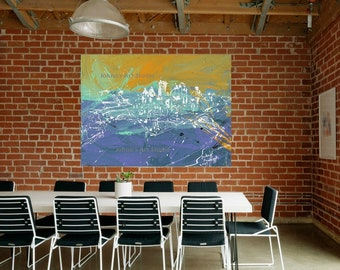 Corporate Office wall art, Modern wall art, Modern Pittsburgh art, Metal prints, Pittsburgh Artist, City Skyline,  Johno Prascak